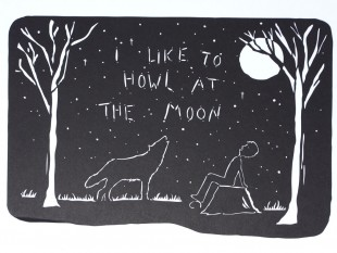 I Like to Howl at the Moon papercut
