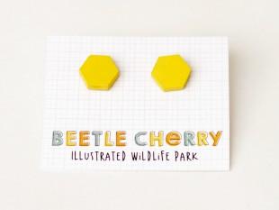 hexagonal yellow earrings