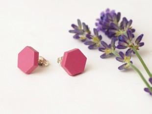 honeycomb earrings pink