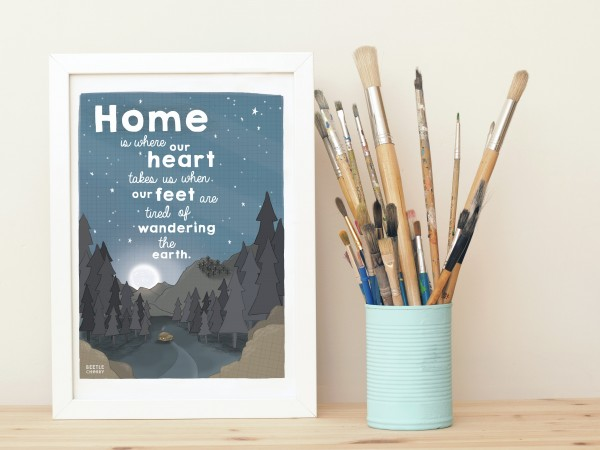 cabin forest mountain illustration print