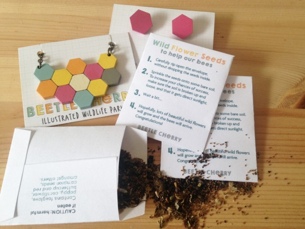 honeycomb jewellery bees wildflower seeds