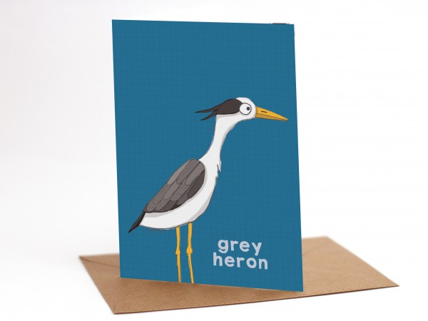 Heron bird greetings card